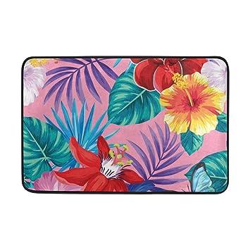 Zone Tapis Feuilles De Palmier Tropical Fleurs Leger Paillasson 59 9