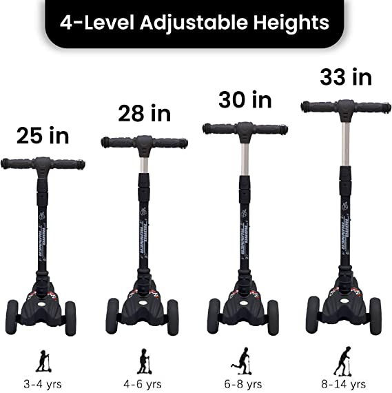 R for Rabbit Road Runner Scooter for Kids - The Smart Kick Scooter for Kids/Baby with Adjustable Height, Foldable LED PU Wheels and Weight Capacity 75 kgs (Black)