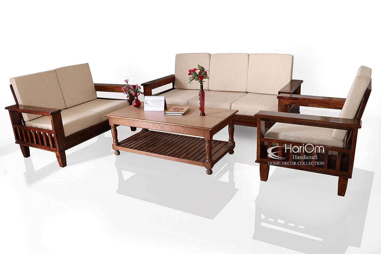 Hariom Handicraft 3 2 1 Seater Solid Sheesham Wood Sofa Set With Cushions Natural Brown Finish