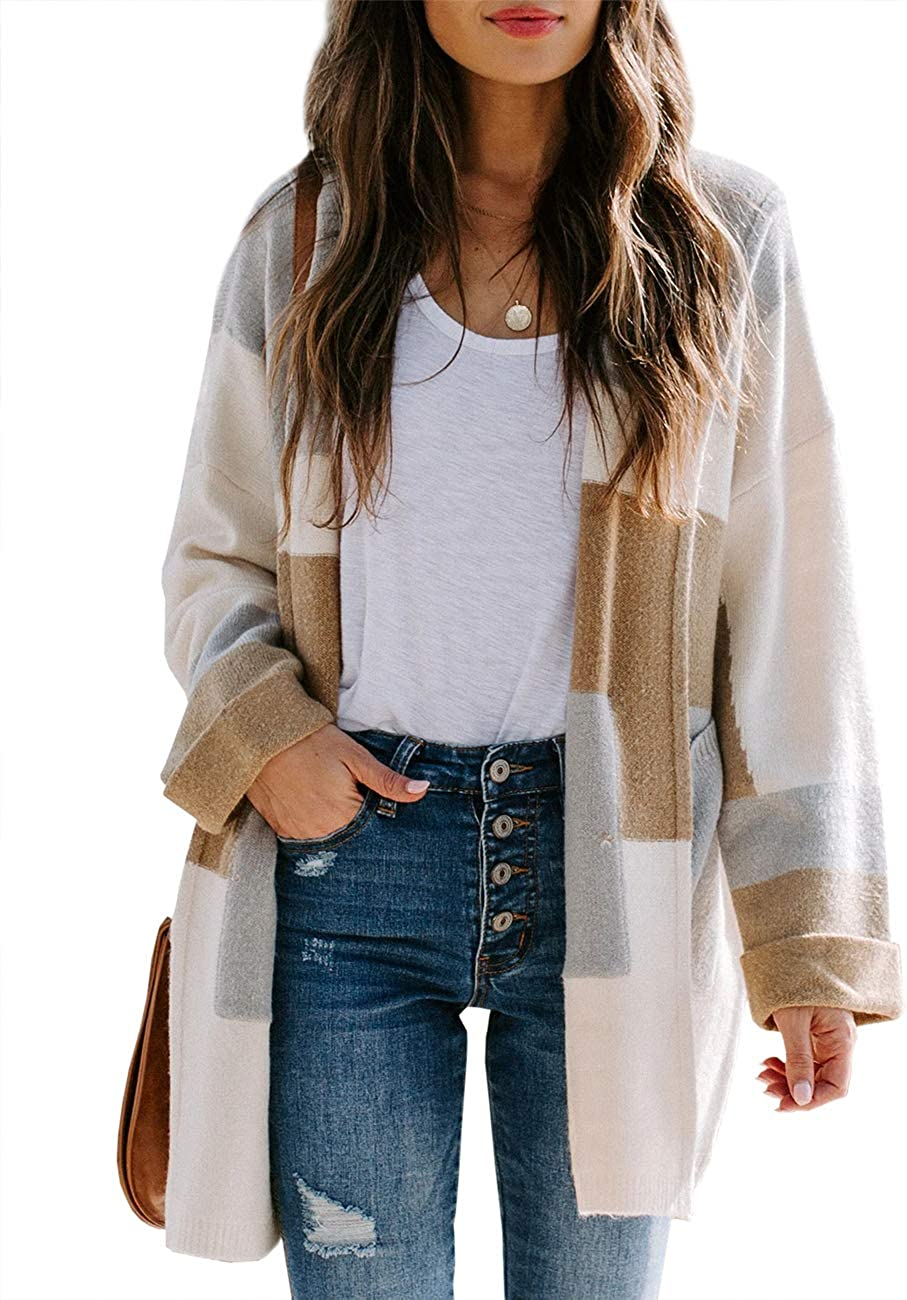 Chang Yun Women Color Block Open Front Cardigan Sweater Lightweight Knit Oversized Hooded Long Sleeve Soft Loose Coat