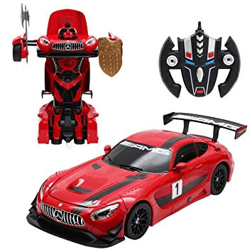 MD Group Robot Car Toy Transformer Mercedes Benz GT3 Red Model 2.4Ghz  Remote Control