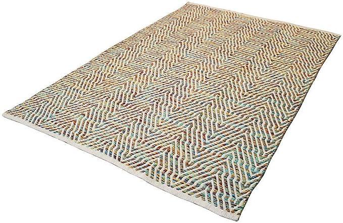 Wellenmuster Flachflor Teppich Handgefertigt 100/% Wolle Handgewebt Grau 80X150cm
