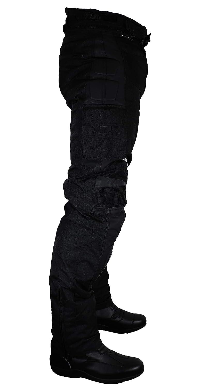 L Negro Roleff Pantal/ónes para Motorista de Tela//Malla y Cuero Racewear