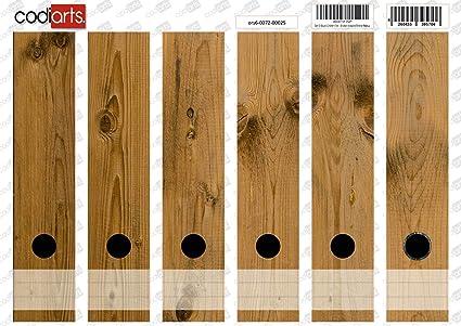 codiarts Set 6 Unidades Carpeta de Etiquetas Autoadhesivas (Lomo de archivadores Adhesivos) marrón Tablas