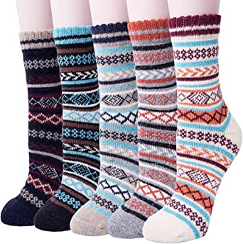 Mens Heavy Thick Wool Socks - Soft Warm Comfort Winter Crew Socks (Pack of 3),Multicolor,One Size 7-12