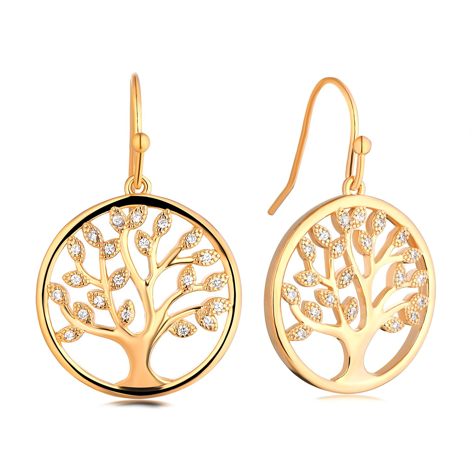 JO WISDOM Tree Earrings 925 Sterling Silver Gold Cubic Zirconia Family Tree of Life Gold Hook Dangle & Drop Earrings