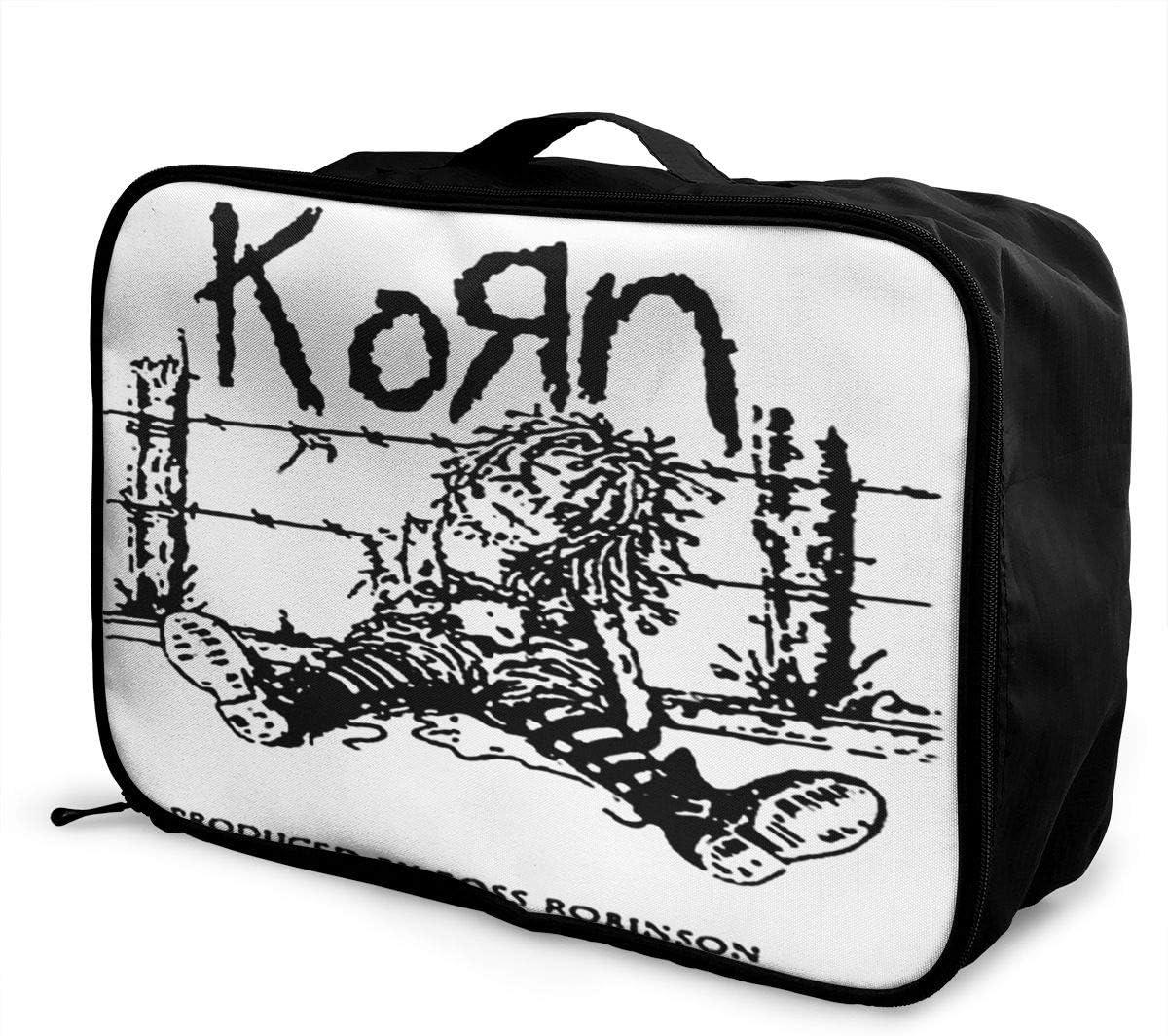 CGWIG Korn Music Band Travel Duffel Bag Waterproof Fashion Lightweight Large Capacity Portable Luggage Bag One Size