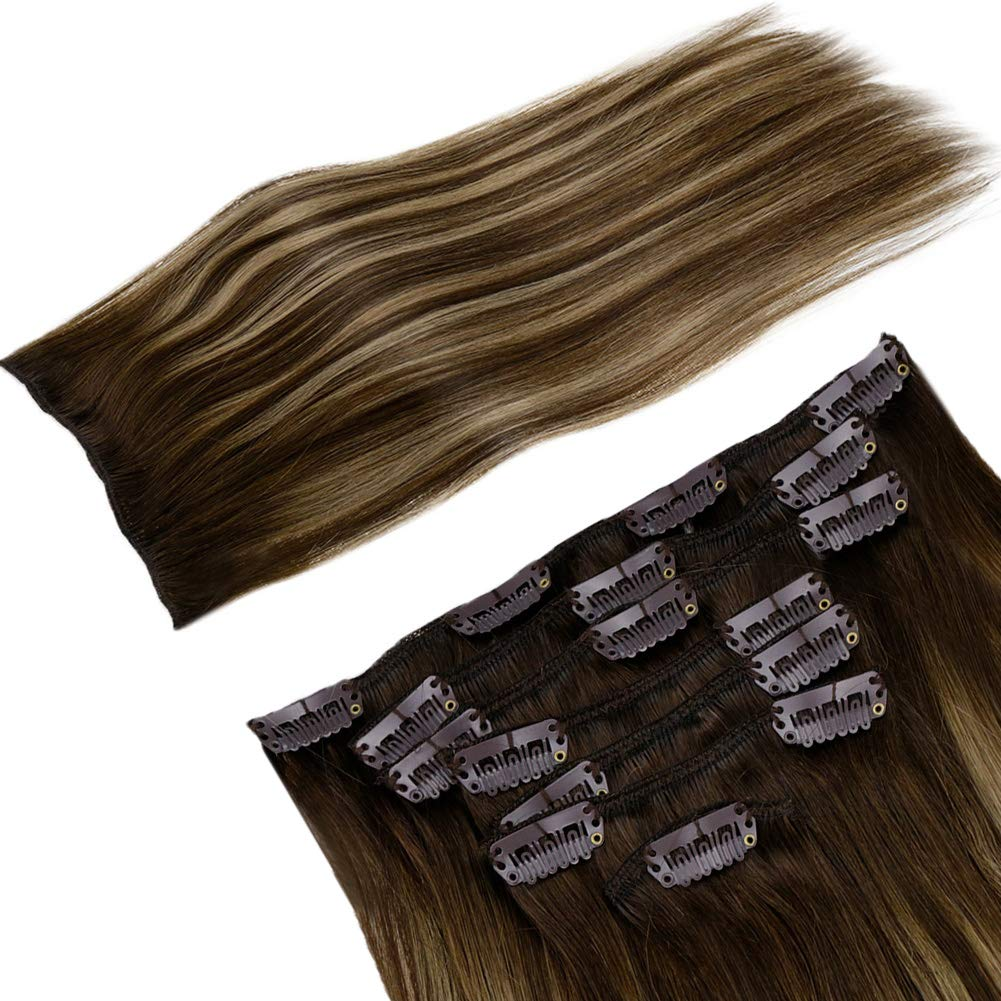 """【Flash Sale-50% OFF】LaaVoo Clip in Human Hair Extensions Dark Brown to Honey Blonde with Brown Double Weft Grade 7A Quality 7 Pieces Clip on Real Human Hair Extension 24"""" #4/27/4 710tNTLf%2B9L"""