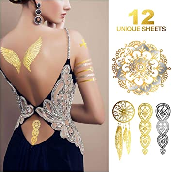 204452fceccb7 Temporary Tattoos, 12 Sheets Henna Tattoo Kit, 176 Pieces Flash Metallic  Silver White Tattoos