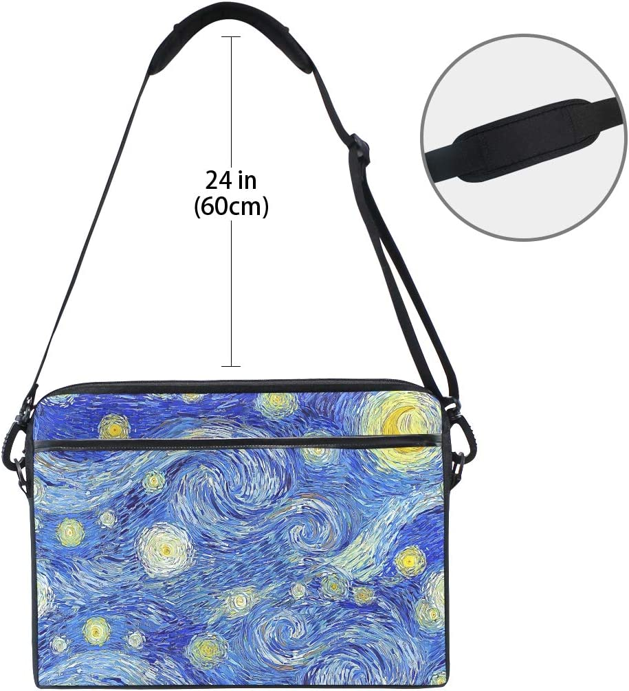 Oil Painting Retro Art Starry Night Laptop Shoulder Messenger Bag Computer Briefcase Business Notebook Sleeve Cover Carrying Handle Bag for 14 inch to 15.4 inch