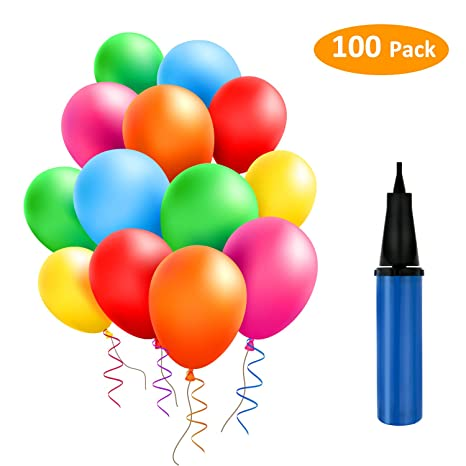 Tedgem 100 Ballons Colorés Avec La Pompe Bleueballons Pour Fêtes Anniversaire Cérémonie De Mariage Party Ballons De Fête De Couleur Pour
