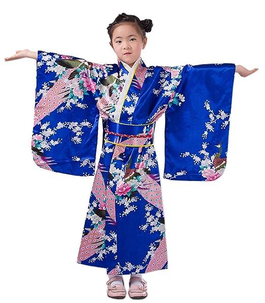 XueXian(TM) Niñas de Flores Pavo Real Fotografía Espectáculo Quimono Estampado Kimono Japonés(