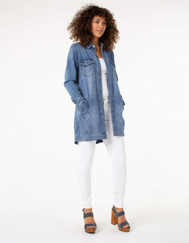 Liverpool Womens Long Smock Shirt Denim Jacket in Soft Rigid