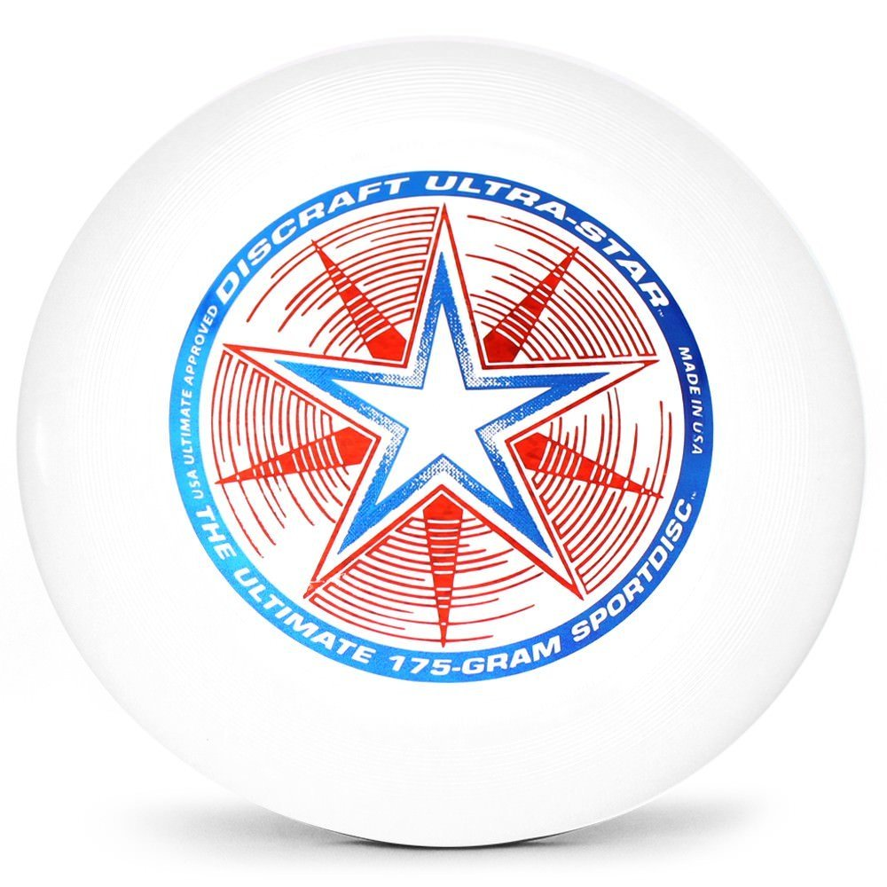 Discraft Ultra-Star 175g Ultimate Disc + Free Mini Frisbee + Ultimate Disc Sticker (USA Ultimate Approved) - White by Disc Store
