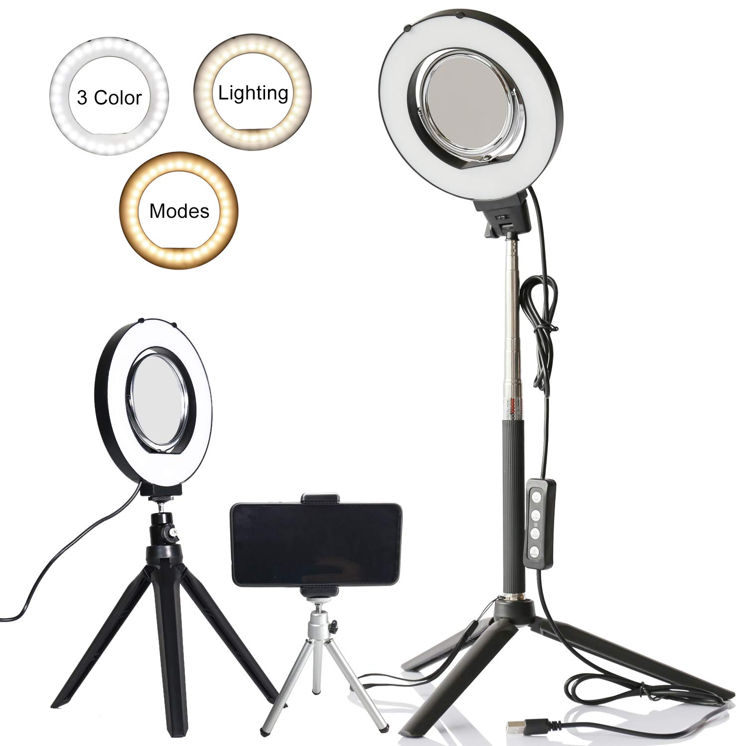 6'' Dimmable Ring Light Selfie Live Stream Lighting&Adjust Stick Stand& 3'' Mirror&Phone Holder for Makeup Photography Mini LED Ring Lamp Outdoor Camera Photo Video Lighting Kit(3 Colors Lighting Mode)