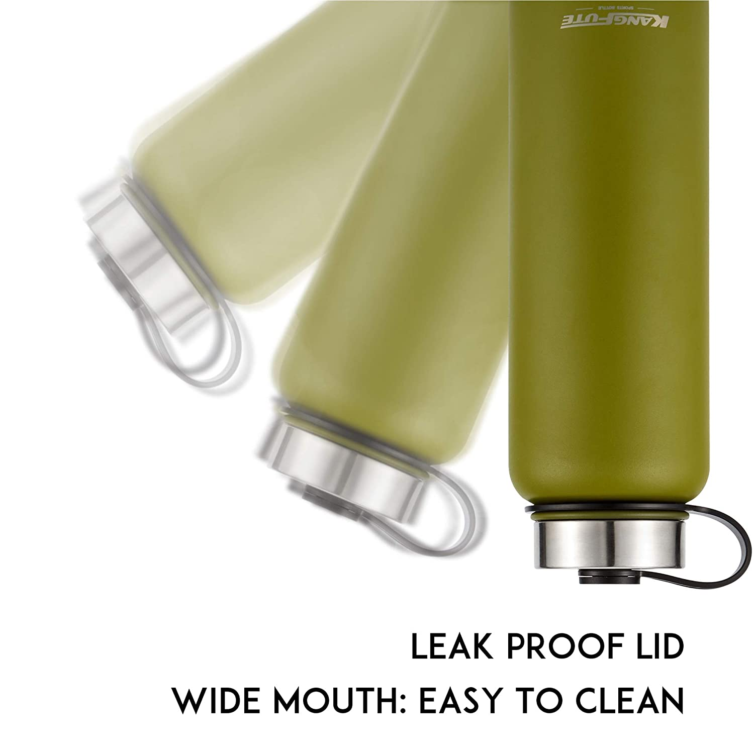 KASBIN Holistic Flask High-Capacity Double Wall Insulated Stainless Steel Water Bottle,Wide Mouth BPA Free,Anti Slip Leak Proof-3 Size,6 Color