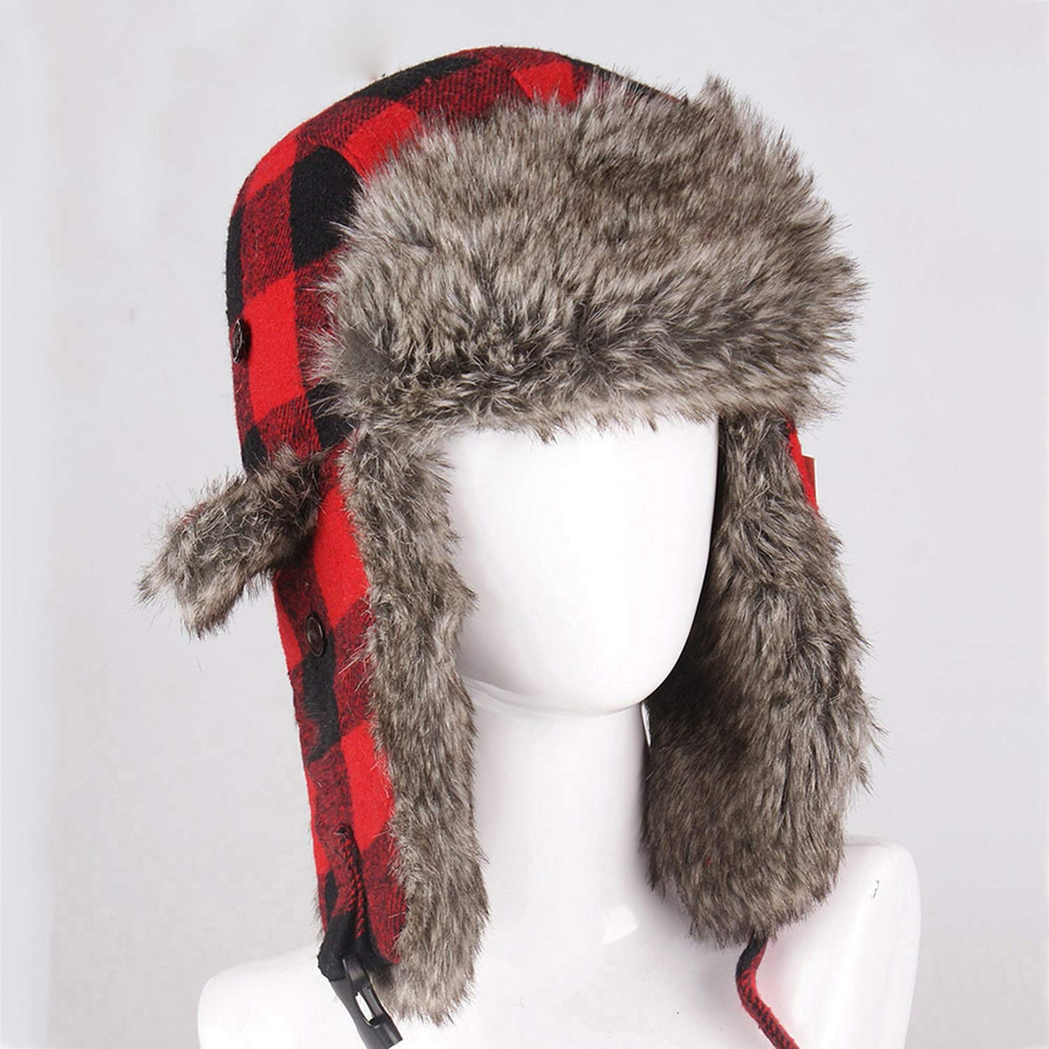 Winter Hats Bomber Hat Fur Red Warm Earflap Cap Windproof Women Thicker Plaid Russian Ushanka Hat Black Blue