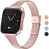 Meliya Metal Slim Bands Compatible for Fitbit Versa 2 / Fitbit Versa/Fitbit Versa Lite, Stainless Steel Metal Clasp Thin Repl