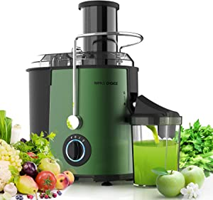 Juicer Machines Juice Extractor - MAMA'S CHOICE Centrifugal Juicer 3 Speed Large Feed Chute for Whole Fruit Vegetable 800W Quick Extract Dishwasher Safe Non-Slip Feet Included Brush Recipes (Green)