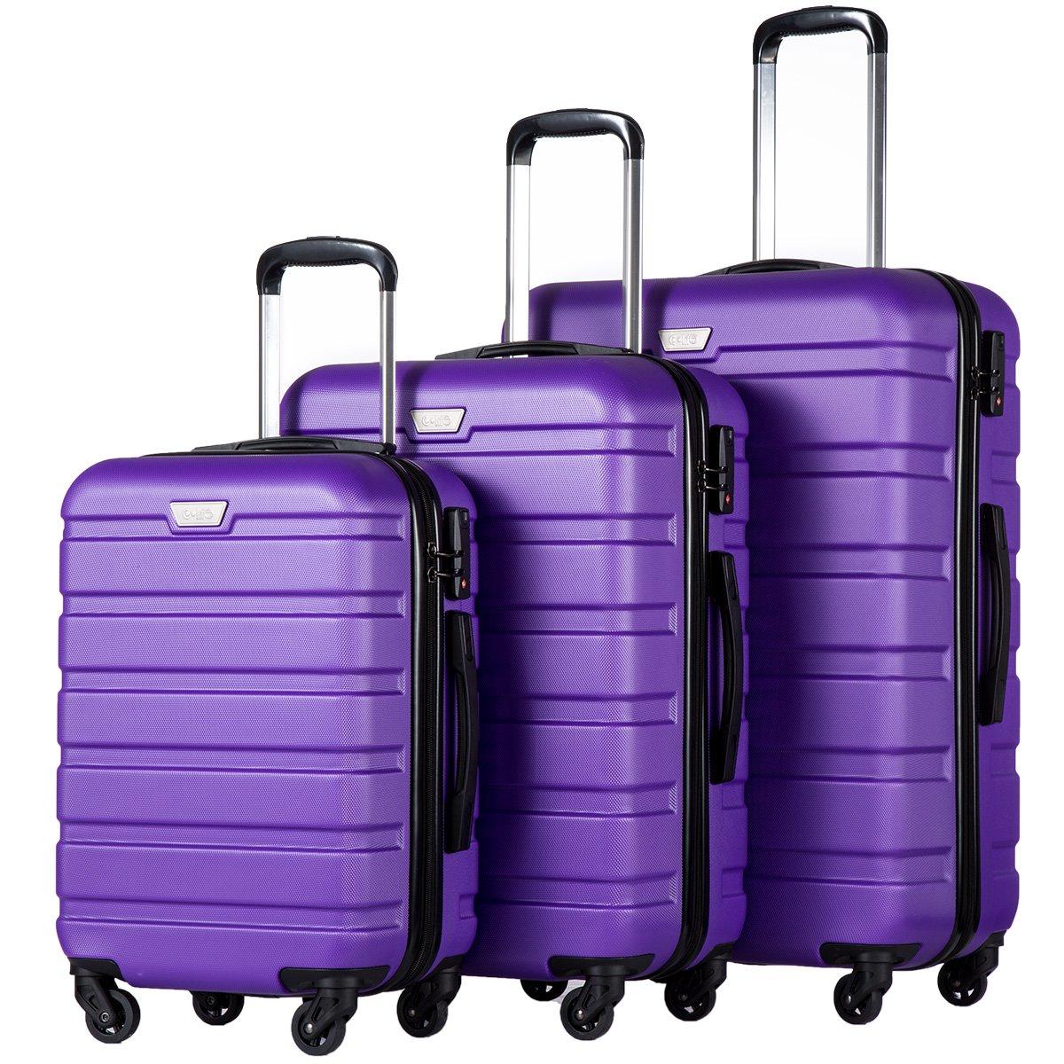 Coolife Luggage 3 Piece Set Suitcase Spinner Hardshell Lightweight (purple2)