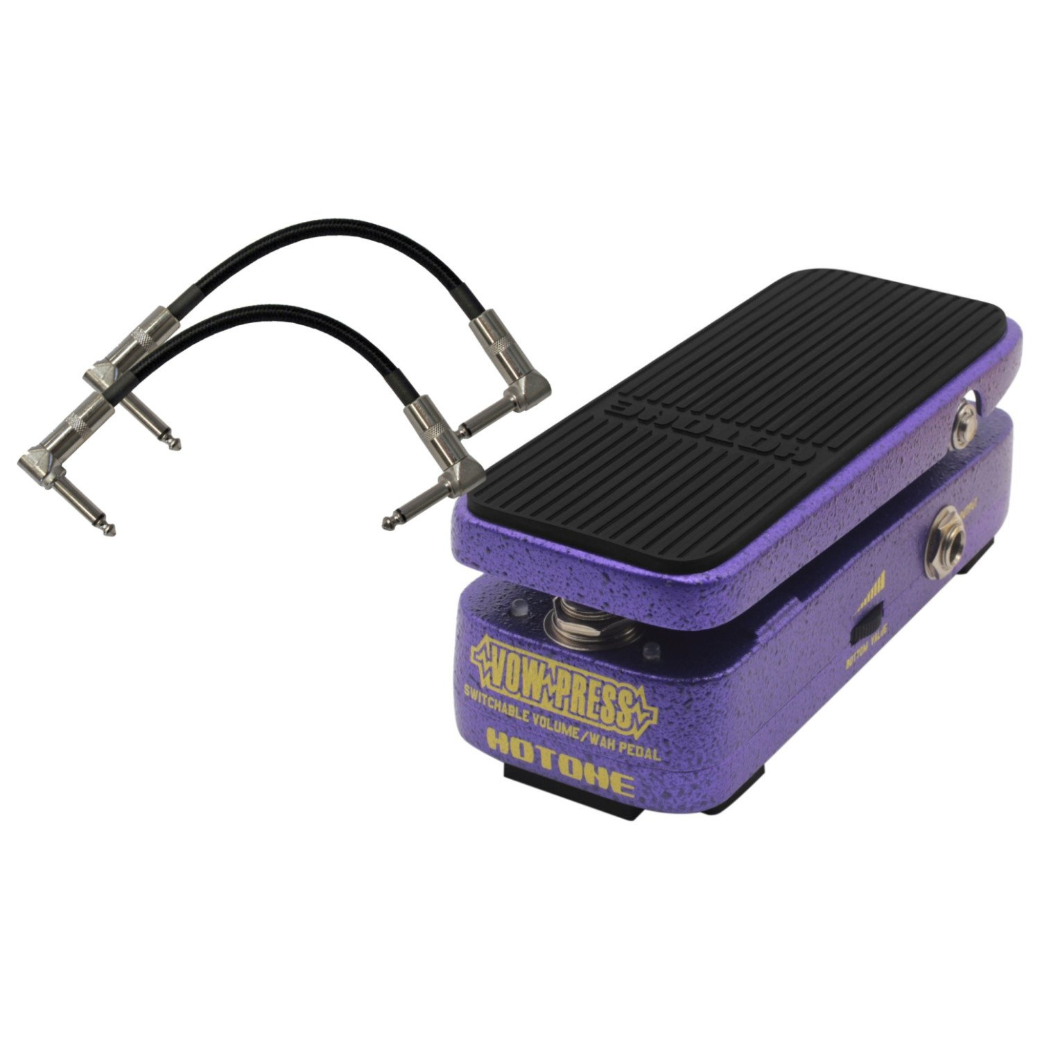 Hotone Vow Press True Bypass Switchable 3 in 1 Guitar Effects Pedal (Volume, Wah,Vol/Wah) with Cool LED lights and Active Volume for Lossless Tone with 2 Patch Cables