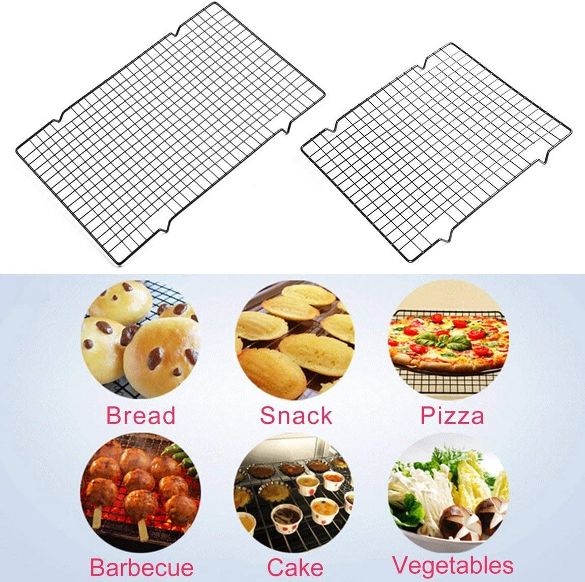 Home Kitchen Baking Accessories Easy Clean Nonstick Cooling Rack Mesh Grid Baking Cookie Biscuit Cake Drying Stand Size:L Color:Black
