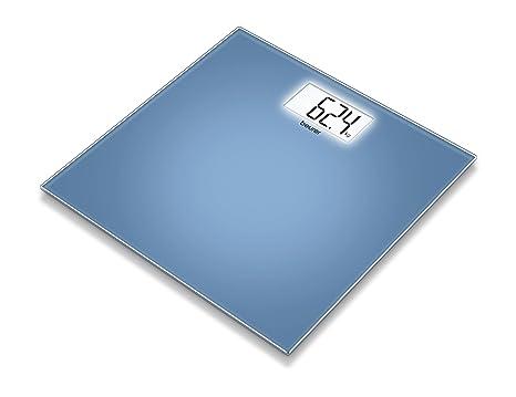 Beurer GS 208 - Báscula de baño de vidrio, pantalla LCD blanca, color azul
