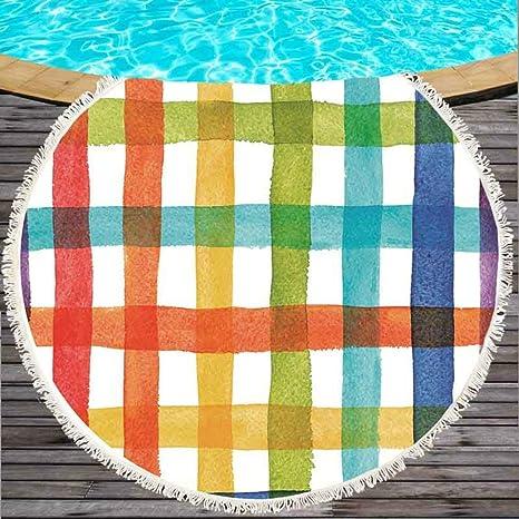 CLEAME - Toallas de Playa Redondas Grandes de algodón Fino con Flecos para Toallas de Playa