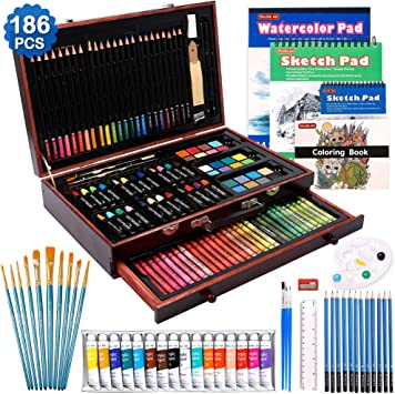 Charcoal Pencils Sketch Pad Watercolour Artist Brushes Canvas Metallic