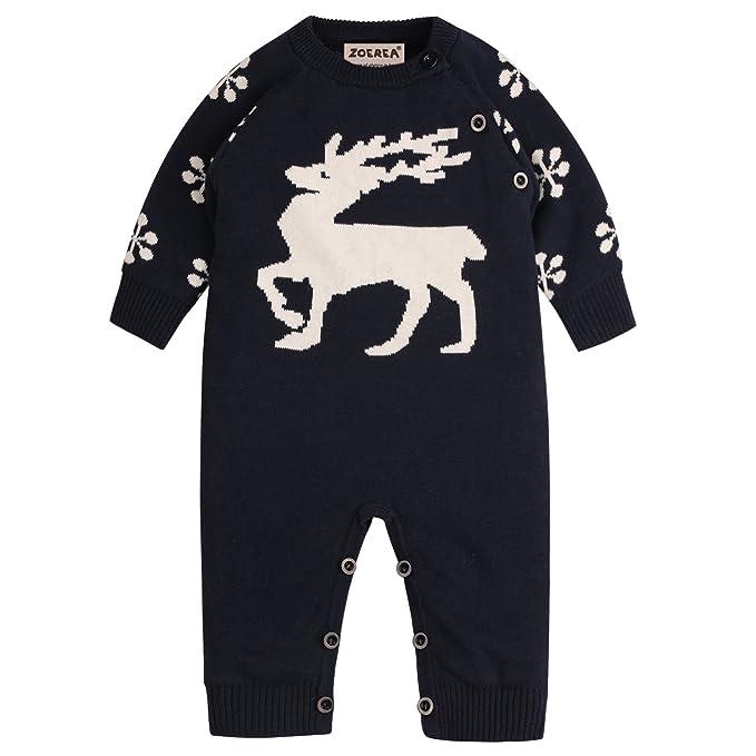 ac2c6be00b ZOEREA Baby Mädchen Junge Neugeborenes Strick Strampler Lange Ärmel Watte  Weihnachten warme Pullover mit Elch Hirsche