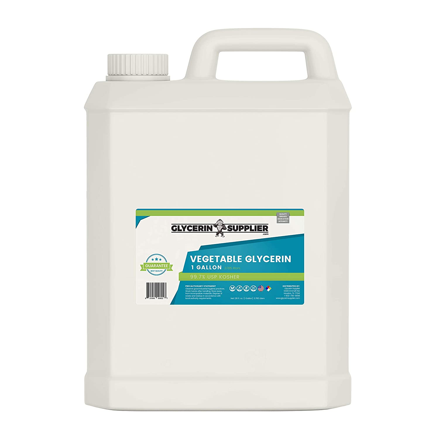 Vegetable Glycerin - 1 Gallon (128 oz.) - Pure USP Food and Pharmaceutical Grade - Non GMO - Vegan - Sustainable Palm Derived - Humectant, Crafts, DIY, Hypoallergenic Moisturizer, Extracts