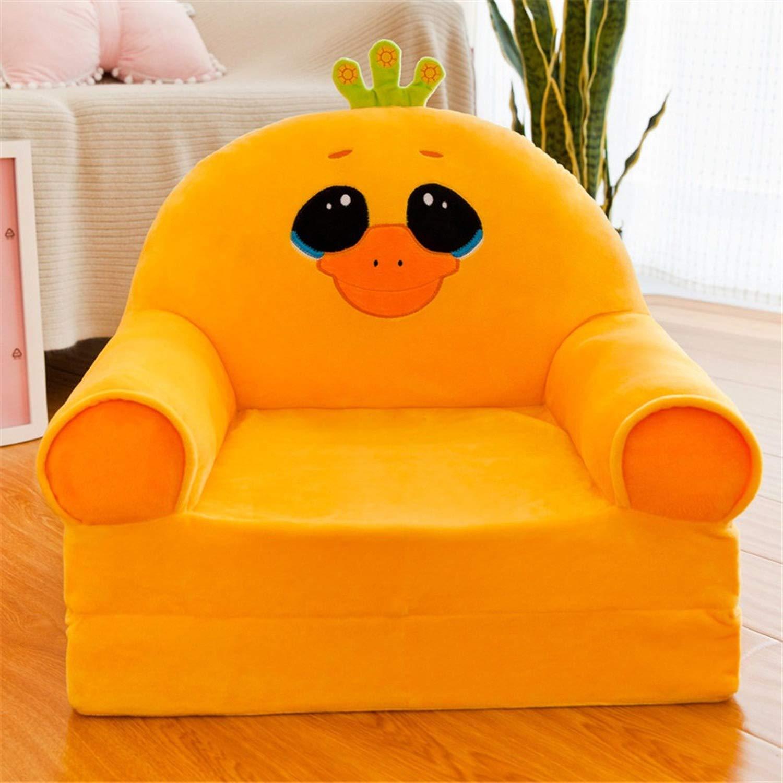 Kinder Cartoon Sofa Baby-Sessel Kid M/öbel keine F/üllung Kleine Sofa-Abdeckung Prinzessin Girl Folding Sitzverstell Yellow Einzel Faule Bett