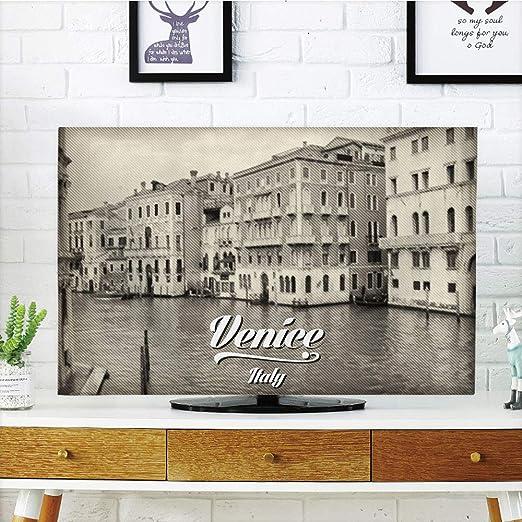 iPrint - Cubierta antipolvo para televisor LCD, Venecia, famosos canales de agua en Italia, barcos, puentes, ladrillos, arquitectura, decoración de ciudad antigua, verde jade canela, diseño de impresión 3D compatible con televisores