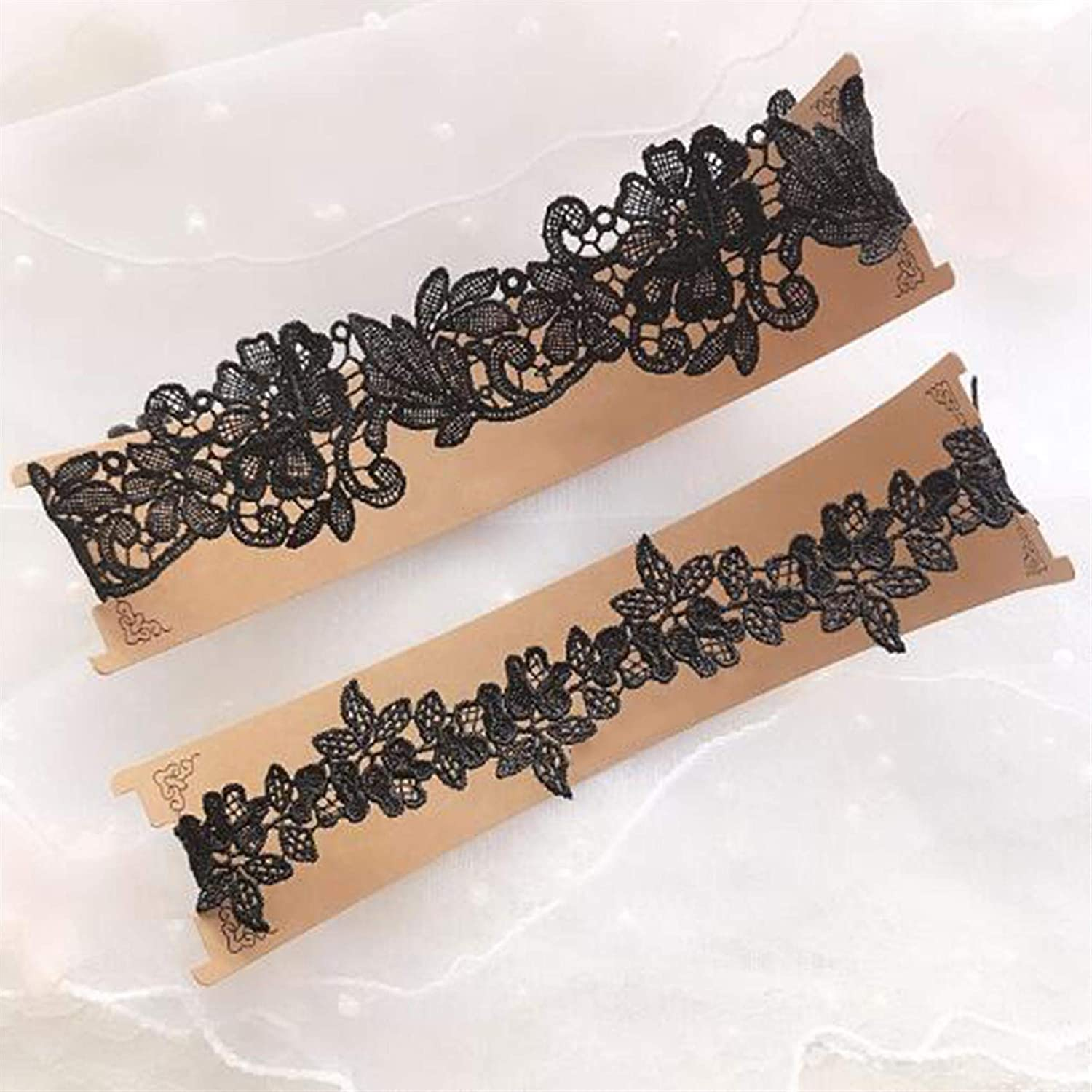 Fd.Gomdn 2 Pieces Ladies Lace Garter Ribbon Design Elasticated Garter for Wedding Prom Party