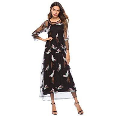 9985f02c424 BaronHong Women s Lace Floral Birds Embroidery Tulle Prom Long Maxi Dress  with Cami(Black