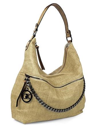 2cc01d1dbd000 Vintage Hobo Bag Handtasche Kette Canvas Optik Einfarbig  Amazon.de ...