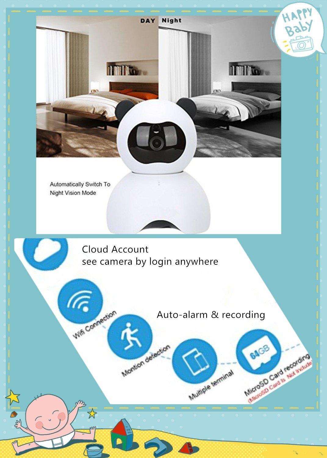 Details about EsiCam Baby Monitor Wifi Hidden Camera Nanny Camera for Smart  Phone, Toy Panda