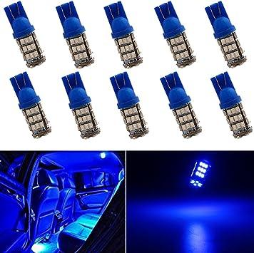 10Pcs T10 194 168 921 Cluster Instruement Dash LED Blue Car 12V Bulb Replacement