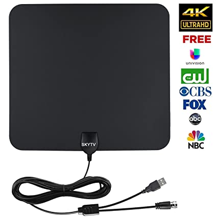 HDTV Antenna-SKYTV Amplified Indoor Digtial HD TV Antennas 50+ Miles Range  with 13 2ft coaxial cable,Full HD 1080P and 4K is ready