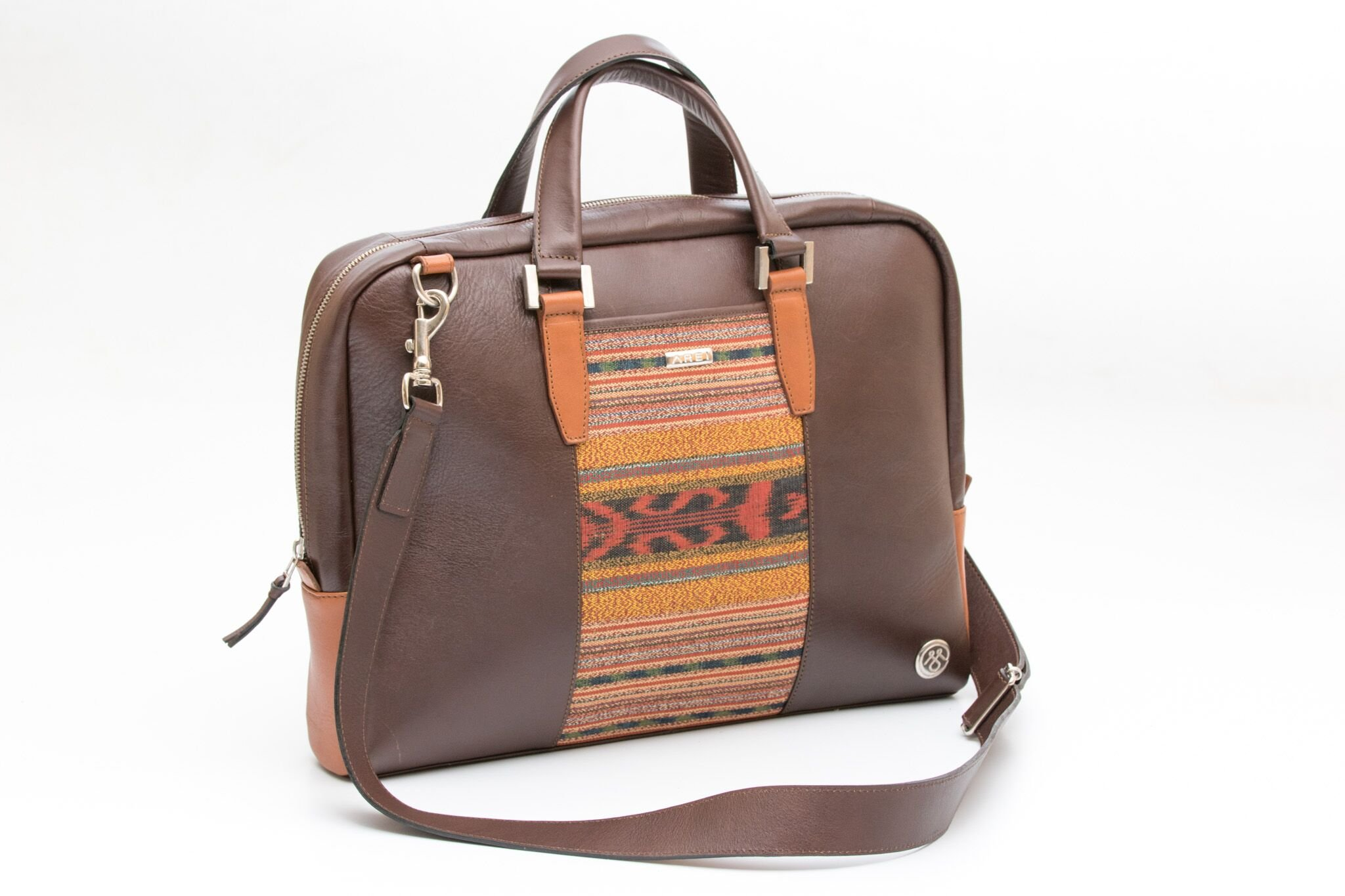 MALETIN Leather and Cotton Shoulder Briefcase (Brown)