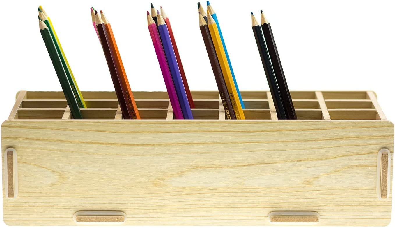 Chris.W Wooden 21-Compartment Artist's Pencils Pens Holder Wood Desktop School Office Supply Caddy Organizer(Beige)
