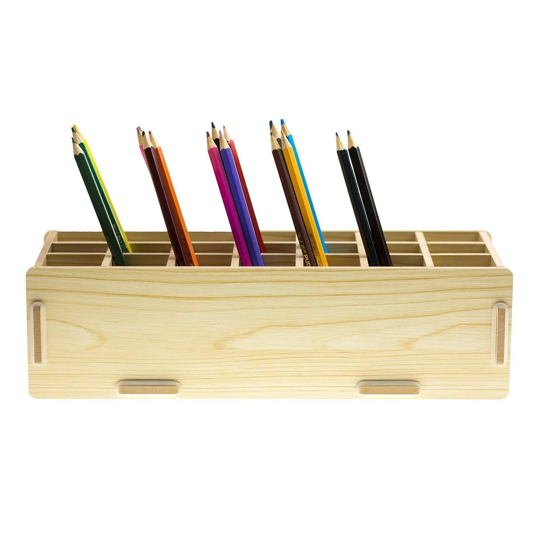 Chris.W Wooden 21-Compartment Artist's Pencils Pens Holder Wood Desktop School Office Supply Caddy Organizer(Beige) by Chris.W