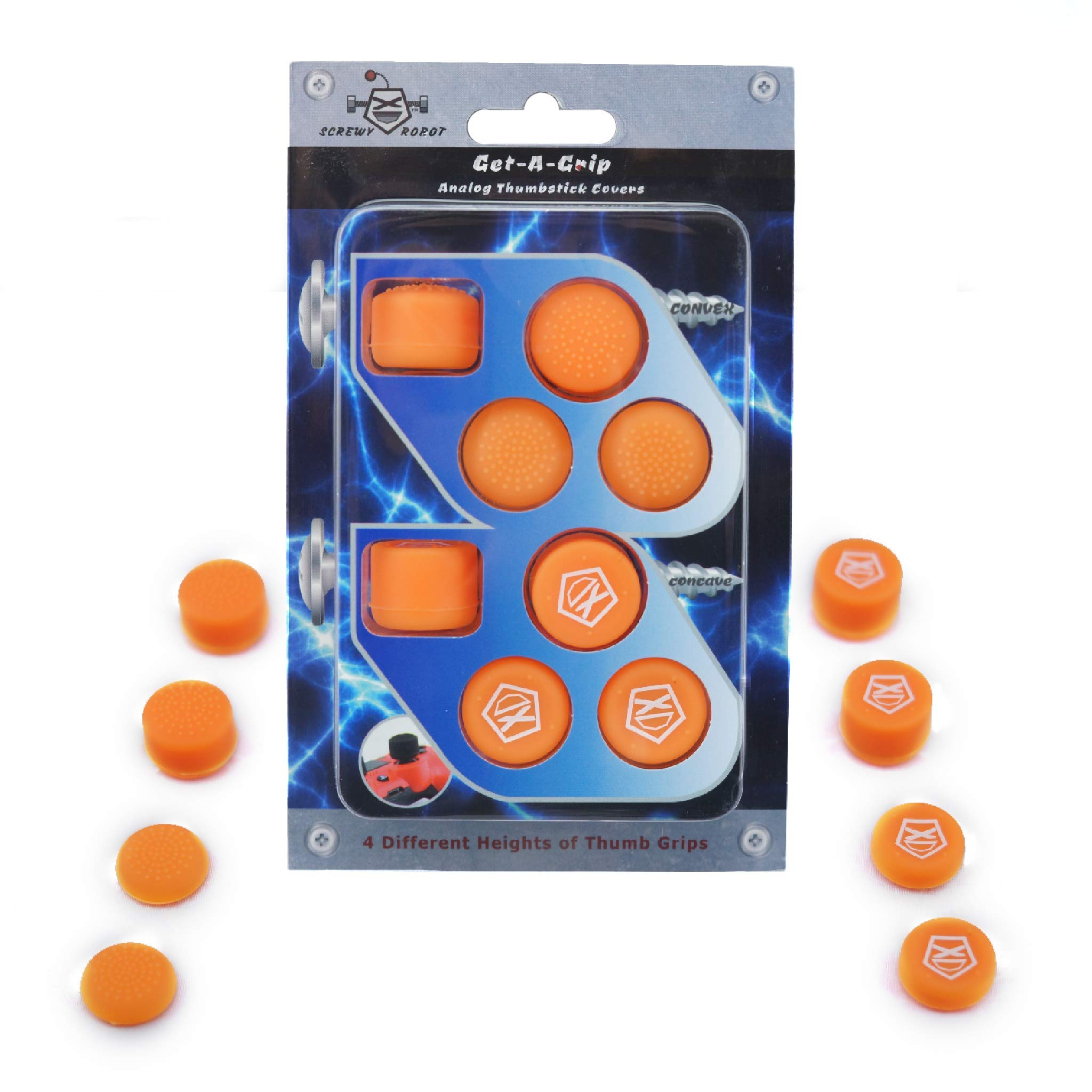 Get-A-Grip Analog Thumbstick Grip Covers for PS4/PS3 by ScrewyRobot (Orange) by ScrewyRobot