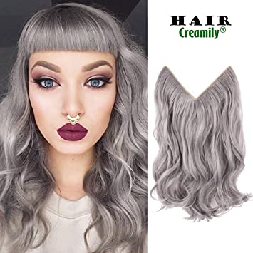 Creamily 14 quot  Wavy Curly Silver Grey Secret Mircale Wire Hairpieces  Synthetic Hair Extensions No Clip c1e892b7b