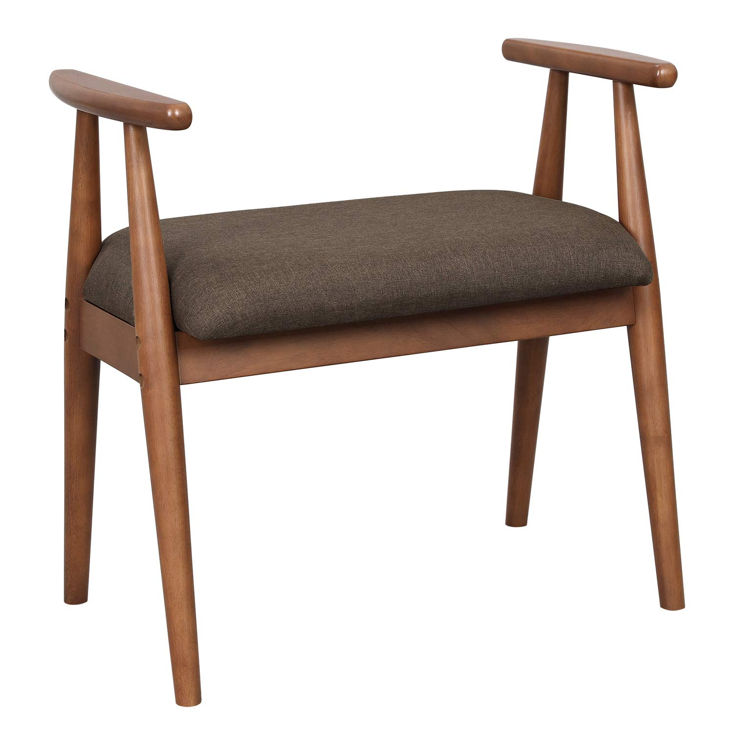 VASAGLE Solid Wood Shoe Bench, Upholstered Vanity Stool with Armrests, Load Capacity 286 lb, Mid-Century Style, for Entryway, Bedroom, Living Room, Saddle Brown URSB01BR