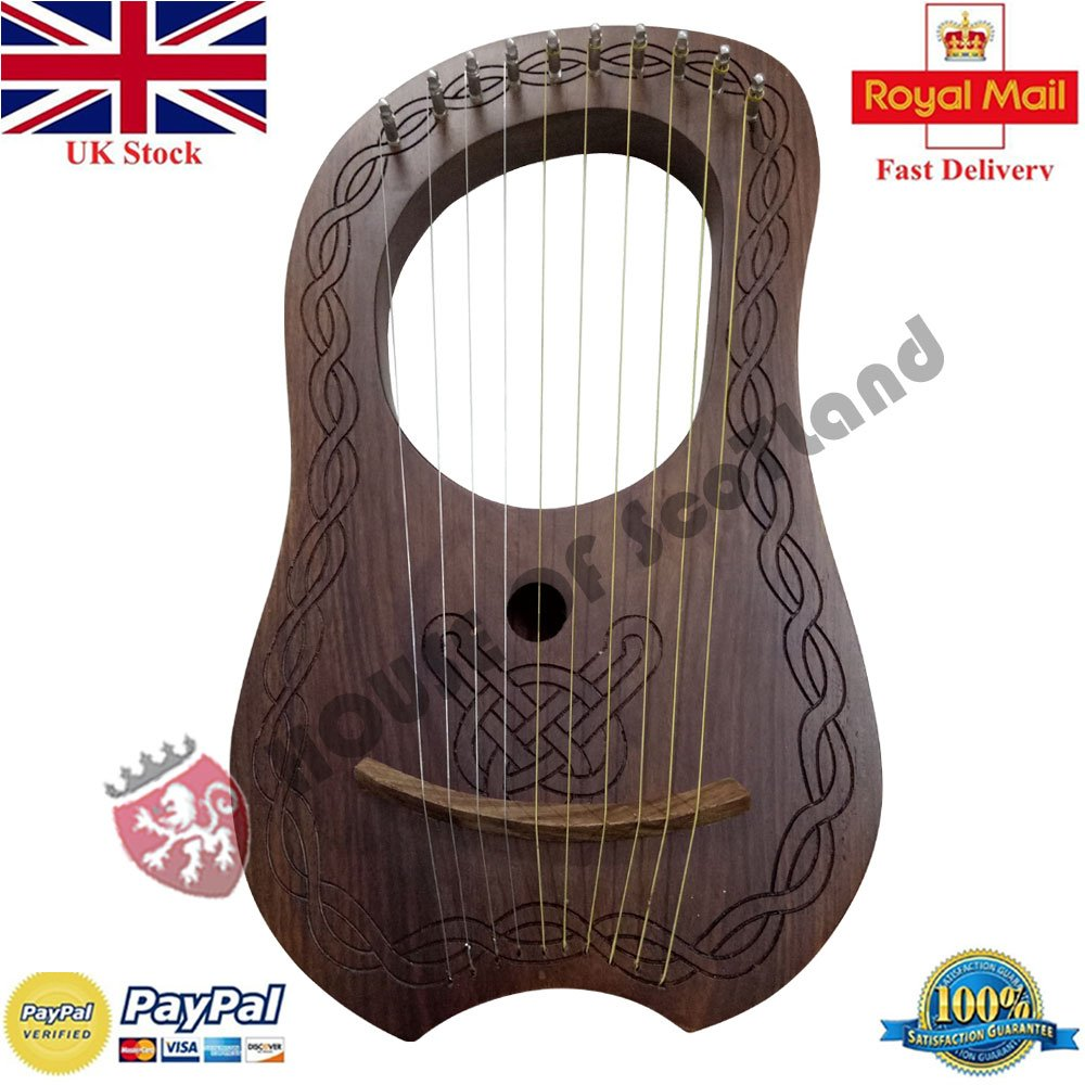 LYRA HARP 10 METAL STRINGS HAND ENGRAVED/LYRE HARP VARIOUS DESIGNS (Natural Piping Harp) H S