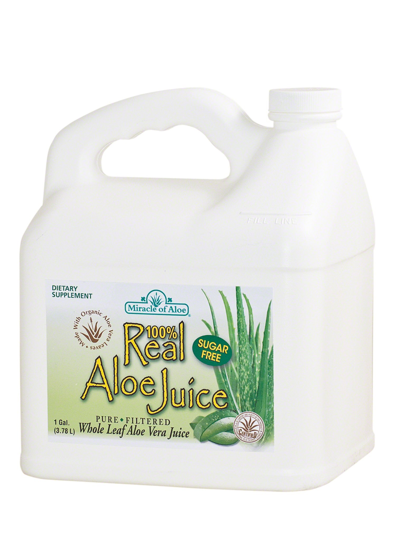 Real Aloe Whole-Leaf Pure Aloe Vera Juice - Made from Organically Grown Aloe Vera Leaves Purified & Filtered (1 Gallon)
