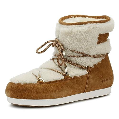 19b3fc5ad262 Moon Boot Far Side Low Womens Tan Shearling Boots  Amazon.co.uk ...