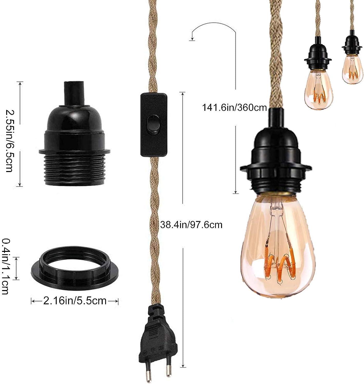 fondamenta senza lampadina magazzino bar portalampada per cucina fattoria lampada a sospensione vintage con corda di canapa 4,5 m E27 Kit lampadario a sospensione con interruttore