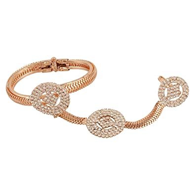 Buy Shining Diva Rose Gold Ring with Bracelet For Women & Girls